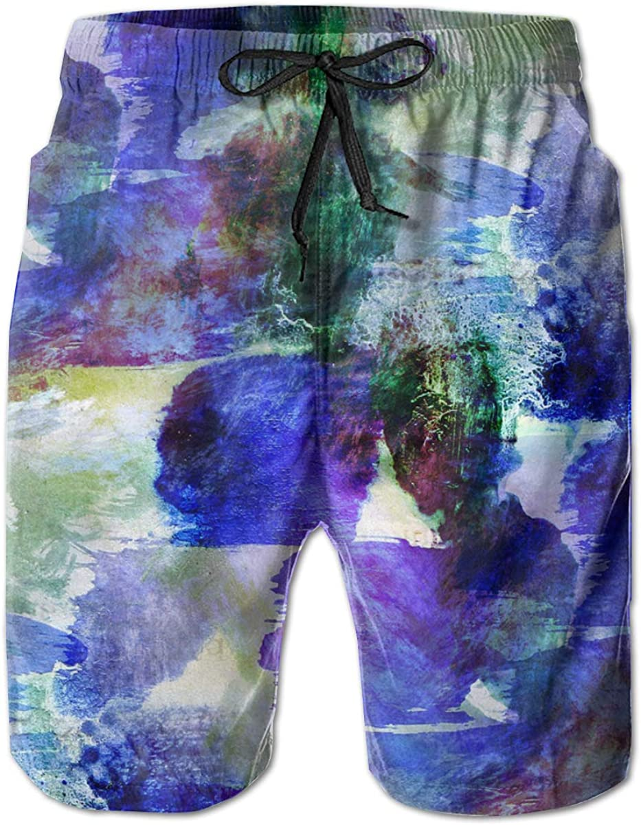 Yt92Pl@00 Mens 100% Polyester Blue Watercolor overseas Ranking TOP4 F Green Beachwear