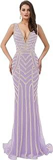 Jonlyc Women's A Line Sleeveless Prom Dress Beaded Mermaid Formal Evening Gowns