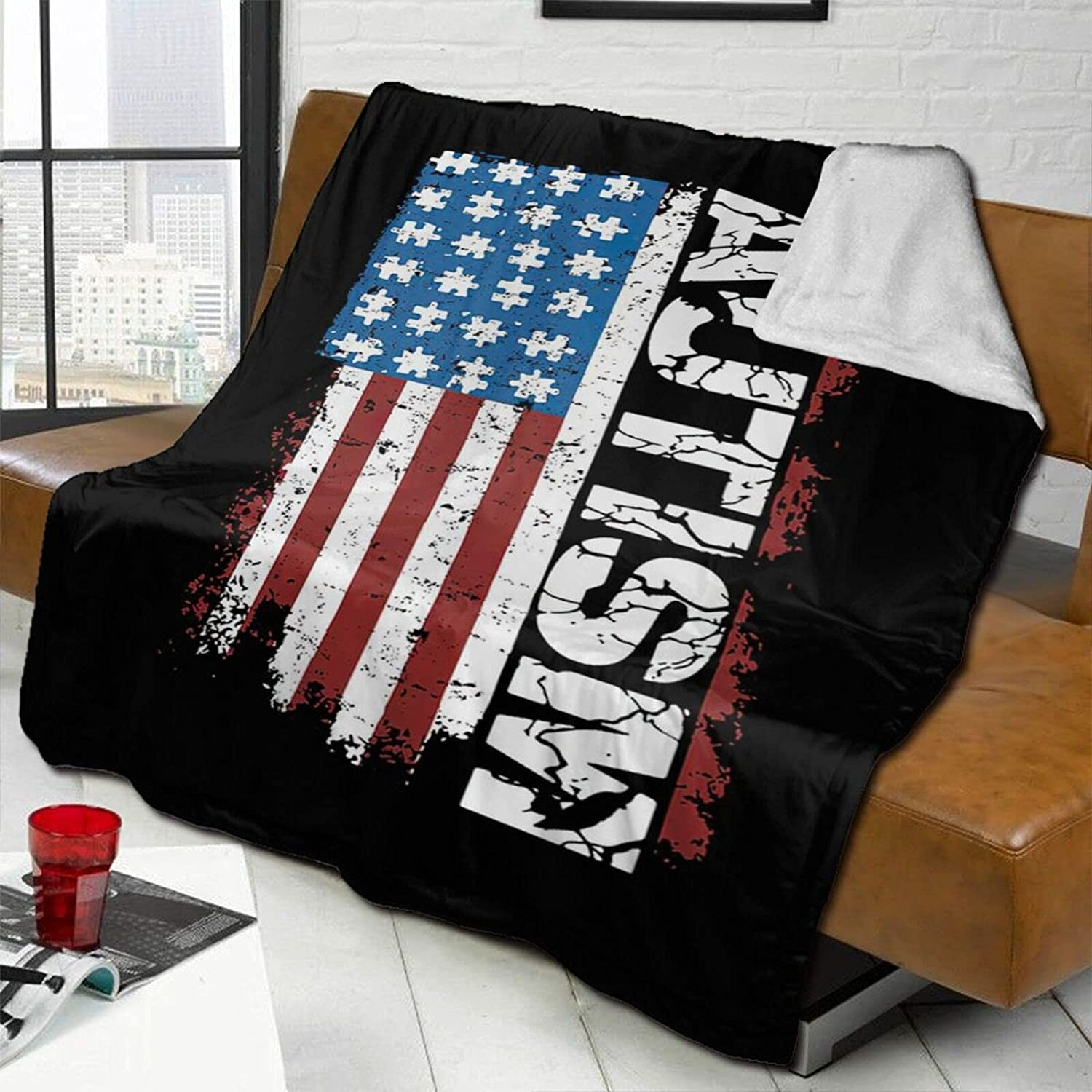 American At the price Flag Autism Lamb OFFicial Wool Blanket Throw W Double-Sided