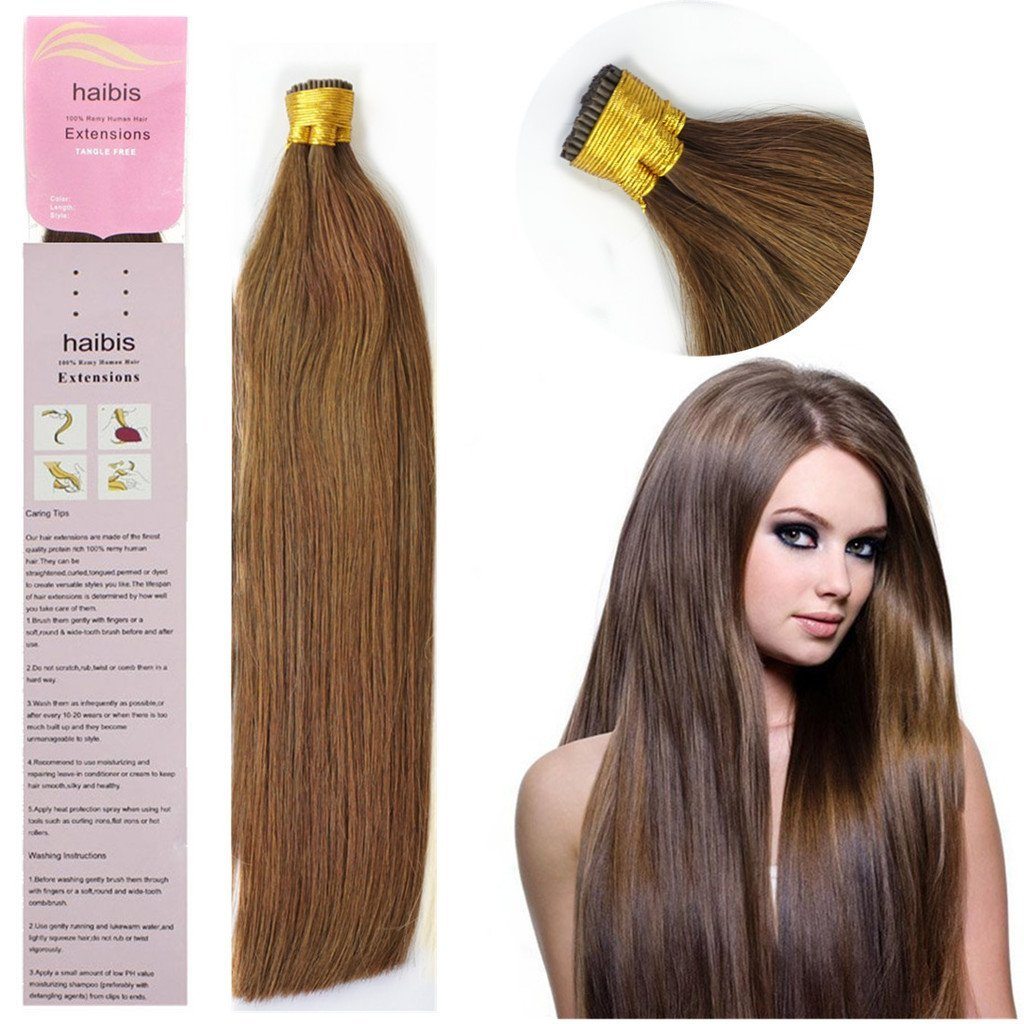 haibis 16''-22'' Real Remy Keratin 国内正規総代理店アイテム Human tip Extensio 信用 Stick Hair