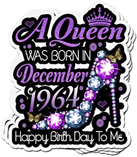 shopdoz 3 PCs Stickers Womens A Queen was Born in December 1964 Birthday 3×4 Inch Die-Cut Wall Decals for Laptop Window