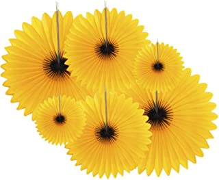 6-Piece Sunflower Theme Decorations Tissue Paper Fan Party Supplies perfect for Classroom Baby Shower
