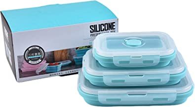 3 Packs Silicone Preservation Lunch Box Set, Portable Boxes for School Kids Office Adults (blue)