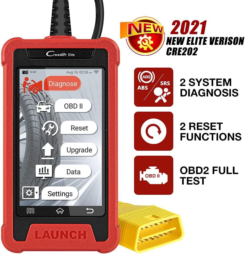 LAUNCH CRE202 OBD2 Machine Diagnosis, ABS SRS Coche Escáner con 2 Servicios de reinicio, Lectura/borrado de códigos de Error, Auto Vin, Datos en Vivo, actualización de WiFi con Pantalla táctil