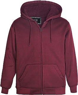 84d90ff80136 Erin Garments Heavyweight Sherpa Lined Fleece Hoodie Sweatshirts for Men  Winter Full Zip Plus Size Long