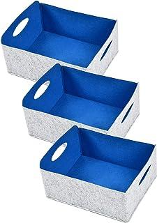 Nati Lot de 3 paniers de rangement en feutre pour jouets, livre, panier pliable en feutre avec poignée, organiseur pour ch...