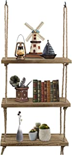 Oyeye Wall Hanging Shelf, 3 Tier Distressed Wood Swing Storage Shelves Jute Rope Organizer Rack, Rustic Home Wall Decor