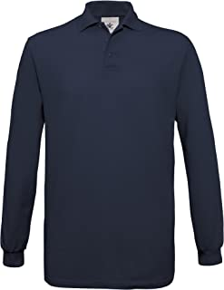 Mens Safran Long Sleeve Cotton Polo Shirt