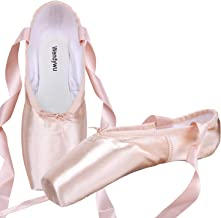 WENDYWU Professional Ballet Slipper Dance Shoe Pink Ballet Pointe Shoes with Toe Pad Protector for Girls Women