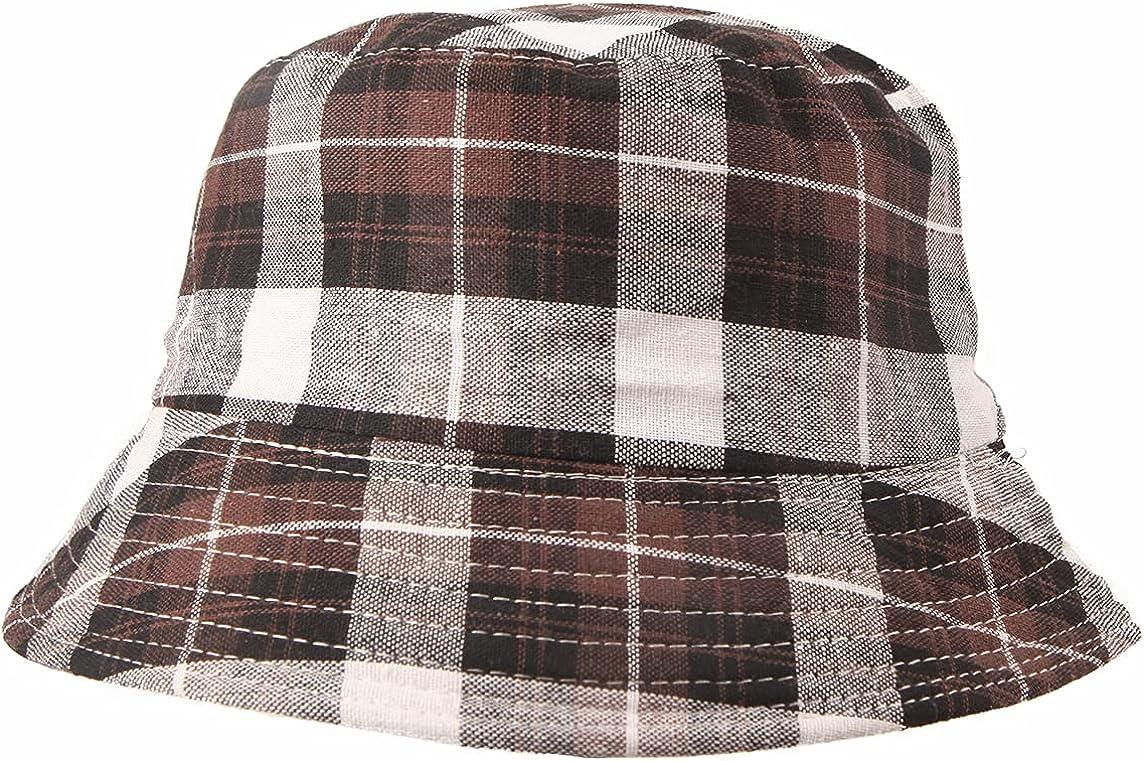 Rainbow Plaid Bucket Hat Colorful Pattern Fisherman Cap Check Cl