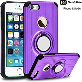 iPhone 5S Case, iPhone 5 Case,iPhone SE Case with HD Screen Protector,Atump 360 Degree Rotating Ring Holder Kickstand Drop Protective Cover Phone Case for Apple iPhone 5 Purple