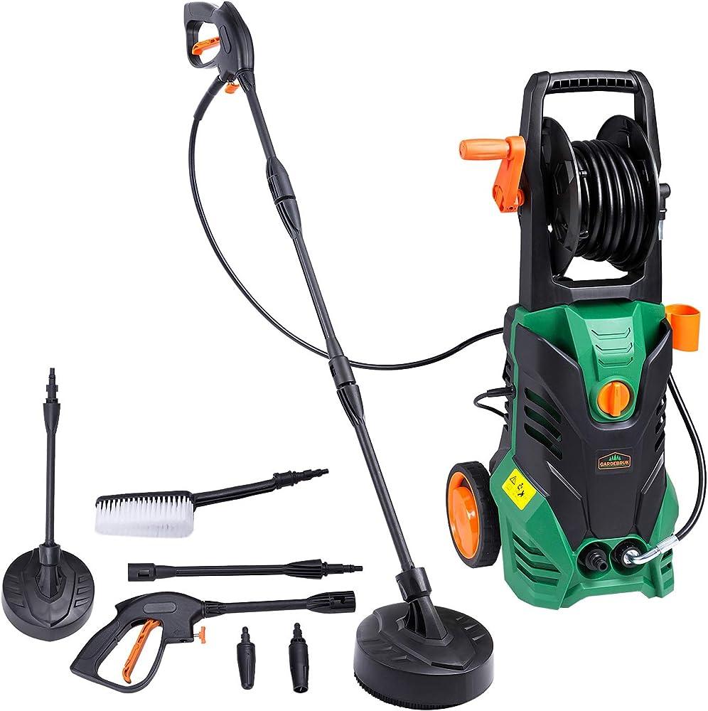 Gardebruk Hidrolimpiadora de alta presión 1800 W Verde y Negro con accesorios lanza cepillo para su coche terraza