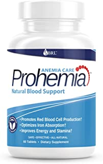 Prohemia Natural Blood Builder and Support for Healthy Iron Levels, Oxygen and Red Blood Cells Production, Gluten-Free, Non-GMO - 60 Tablets…