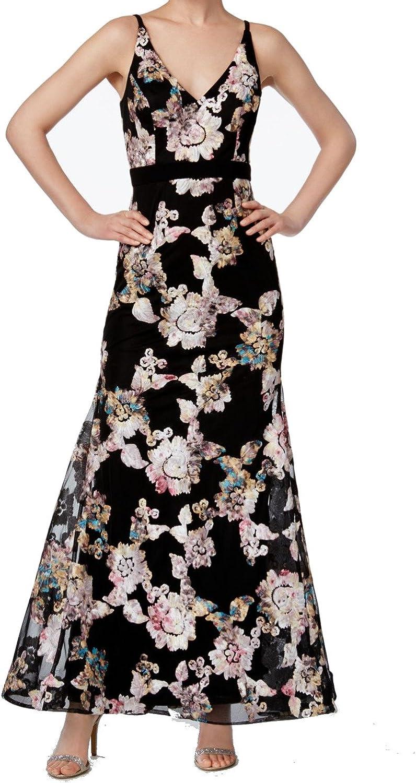 Xscape Womens Spaghetti Straps Floral Print Evening Dress