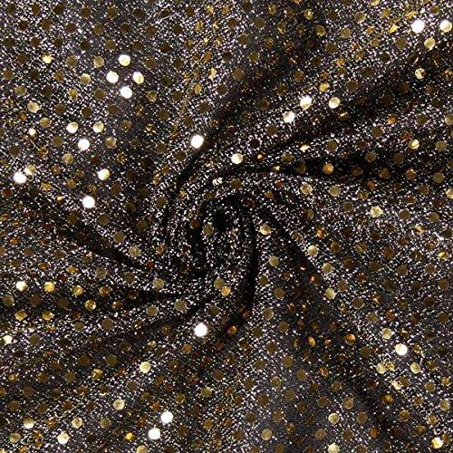 Fabulous Fabrics Paillettenjersey Gold, Paillette, 110cm breit – Jersey zum Nähen von Karnevalskostümen und Accessoires – Meterware erhältlich ab 0,5 m