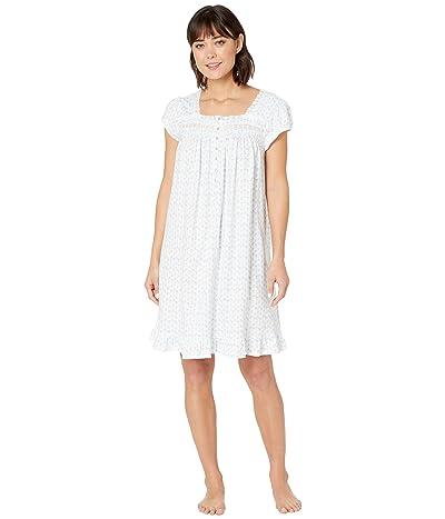 Eileen West Cotton Jersey Short Sleeve Short Nightgown (White Ground/Daisy Geo) Women