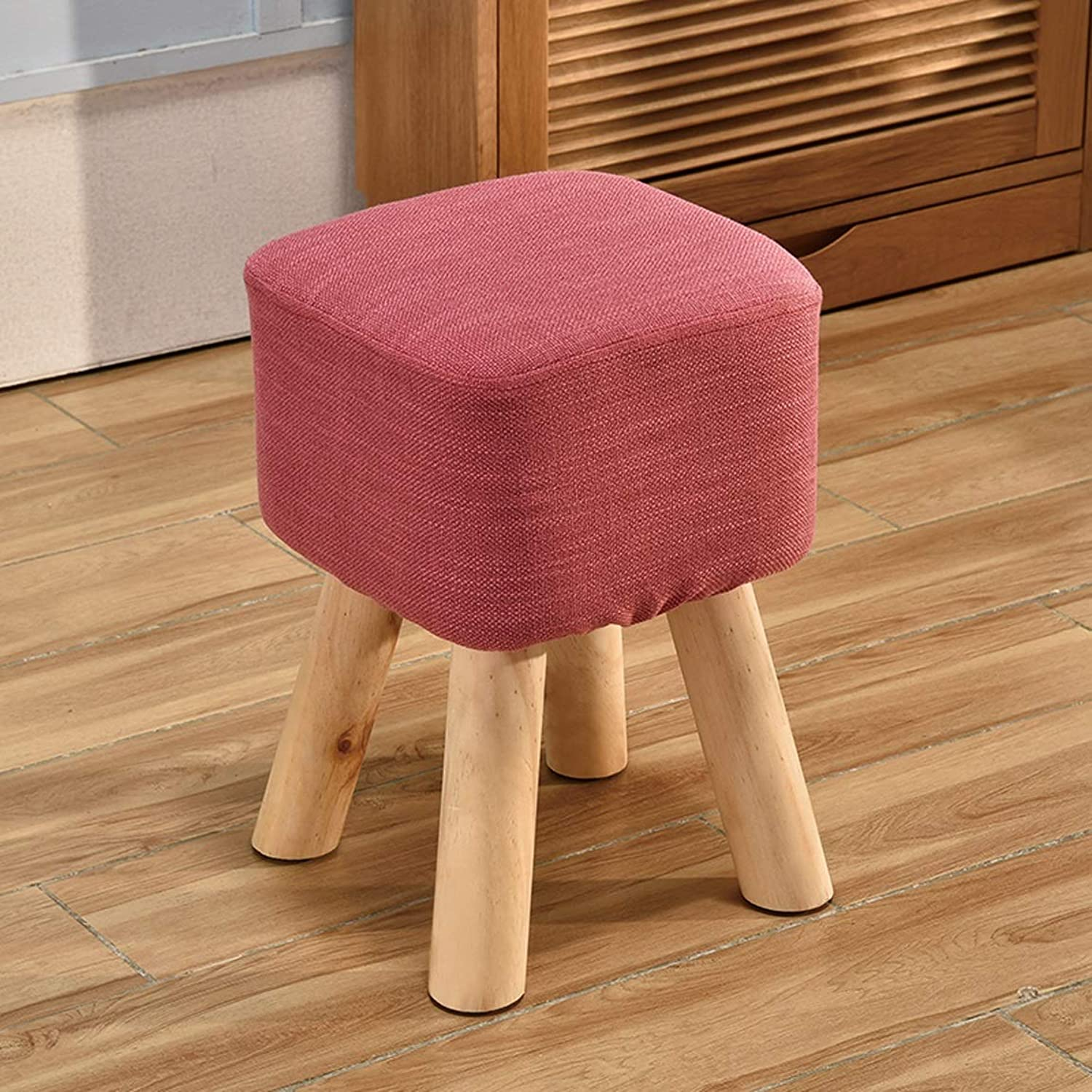 HZB Household Small Stool Living Room for shoes Stool Fashion Adult Square Stool Sofa Sofa Stool Bench (color   pink red)