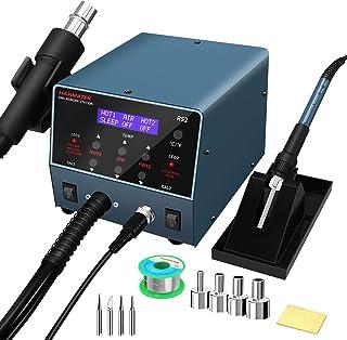 HANMATEK 2 in 1ヒートガンはんだごて 熱風リワークガンステーションとはんだごてステーション800W、PIDスマート温度制御、スリープ機能、デジタルディスプレイ、小さなノイズ、急速加熱、°F /°CスイッチRS2