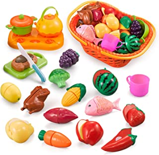 NextX Cutting Play Food Set, Pretend Play With Basket For Kids Kitchen