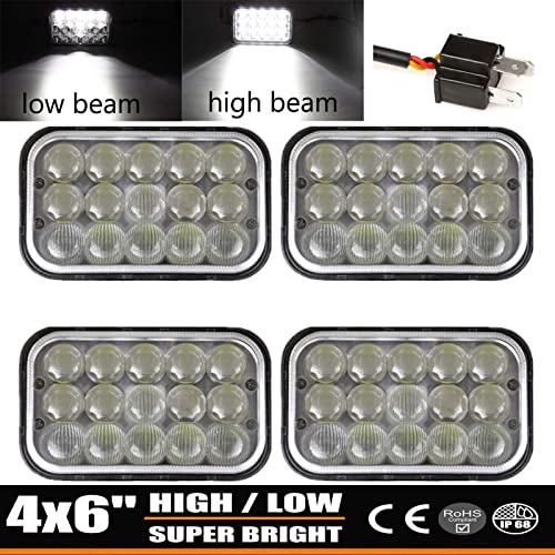 discount LED Sealed Beam Headlights 4X6 Inch Rectangular Light Replace H4651 H4652 H4656 H4666 H6545 For Kenworth T600 T800 W900 Camero wholesale Motorhome Pererbilt Chevy Silverado K10 sale V10 S10 K20 GMC outlet sale