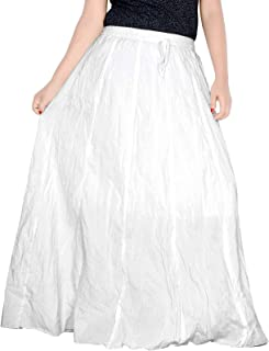 Sttoffa Women's White Skirt 42 inch Length Cotton Long Skirt