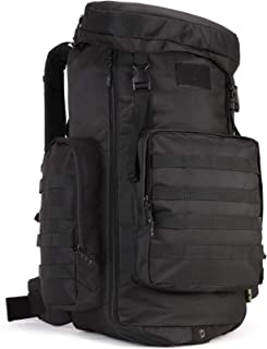 Tactical Travel Backpack MOLLE Rucksack-70L-85L Waterproof Camouflage Suitcase Hunting Mountain Sports Trekking Camping (black)
