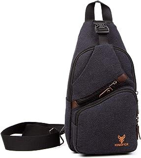 Kindfox Kanvas Portatif Çapraz Çanta   Usb Ve Kulaklık Girişli Çapraz Sırt Çanta   Bodybag Erkek - Kadın   Antrasit