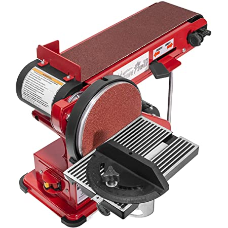 "XtremepowerUS 2-in-1 Belt & Disc Sander Station (4"" x 36"" inch) Adjustable Table Belt Angle Sander Dust Port Tension Spring, Red"