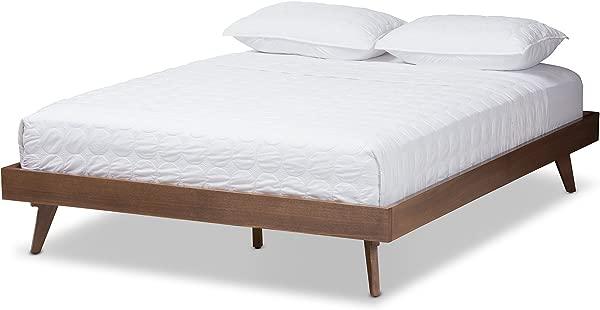Baxton Studio Bed Frame In Walnut Finish King 83 07 In L X 78 74 In W X 13 19 In H