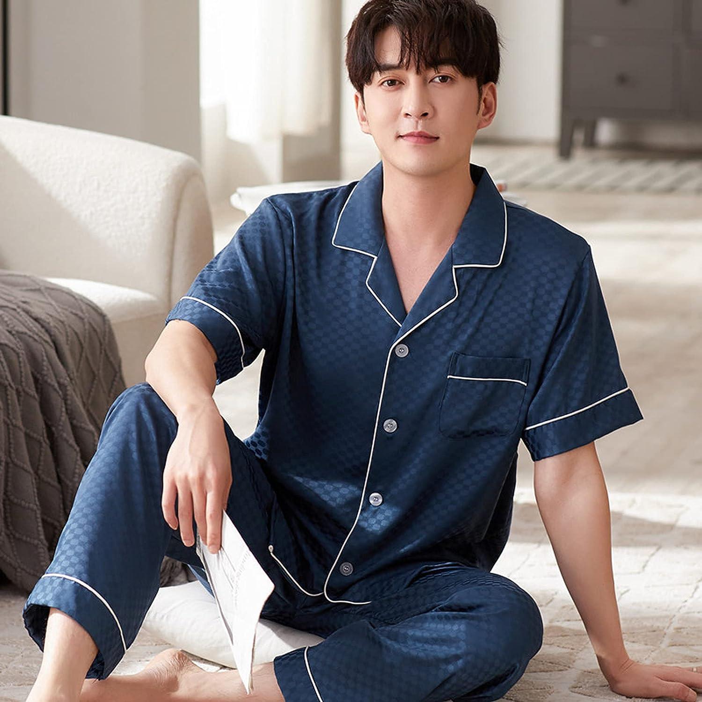Men Silk Sleepwear Summer Pajamas Set Mens Pyjama Men Silk Pajamas Pajamas Men Short Sleeve Trousers,Blue,XXL