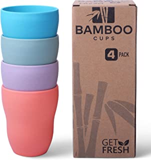 Get Fresh Bamboo Cups 4 Pack, Bamboo Drinkware, Bamboo Fiber Tumblers, Non-toxic Bamboo Dinnerware, Bamboo Fiber Dinnerware Set, BPA Free (Multiple Colours), Bamboo Mugs Set
