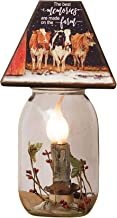 Your Heart's Delight The Best Memories are Made On The Farm White 10.5 x 5 Glass Decorative Tabletop Jar Lamp