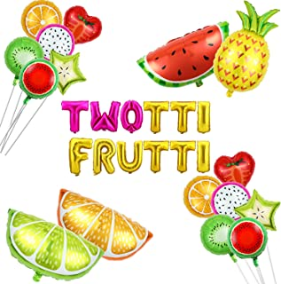 28 Pieces Tutti Frutti Birthday Balloon Decorations Fruit Foil Balloons Pineapple Watermelon Summer Themed Birthday Party Supplies for 2nd Birthday Party, Baby Shower