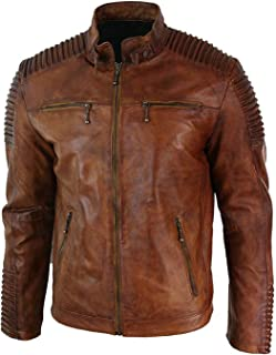ZARAR Mens Distress Brown Real Leather Vintage Style Biker Moto Brown Jacket Costume