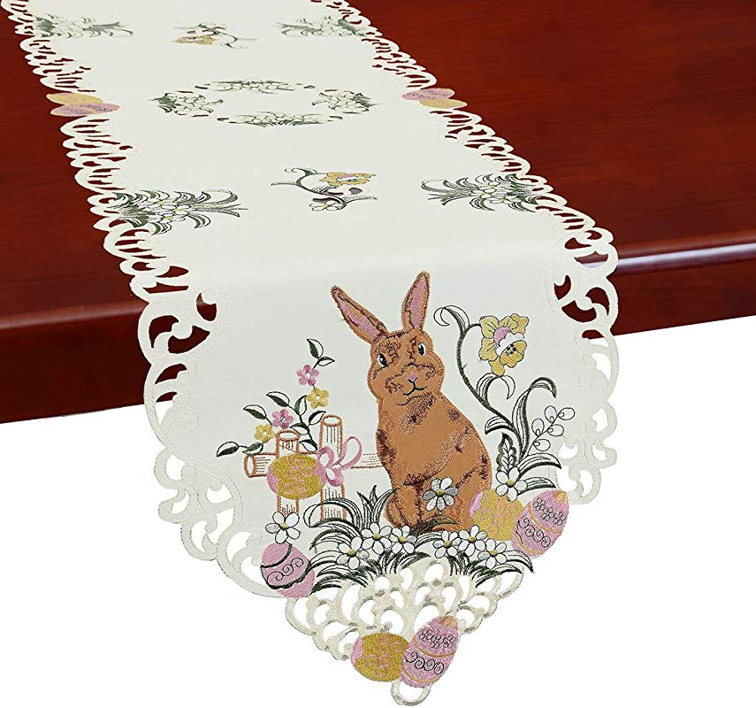 Simhomsen Embroidered Bunny Table Runners Easter Holiday Season Decorations Dresser Scarves 14 X 87 Inch