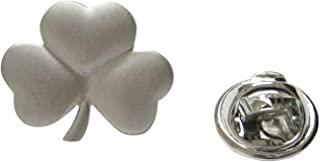Silver Toned Shamrock Clover Pendant Lapel Pin