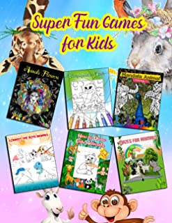Super Fun Games for Kids: Animals Mandala and Flowers Coloring Book - Connect The Dots-Mazes- How to Draw - Color by Numbe...
