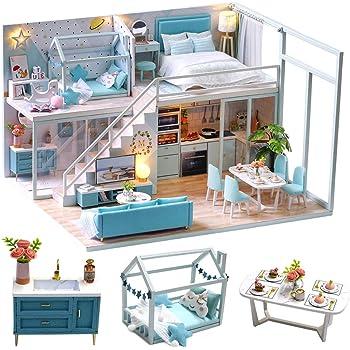 CuteBee DIY木製ドールハウス、POETIC LIFE 、ミニチュアコレクション、LEDライト、オルゴール、プレゼント、電池AAA*2必要 (L-028)