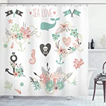 Ambesonne Nautical Decor Collection, Save the Date Collection Summer Ocean Flowers Bouquets Wreath Wedding Image, Polyester Fabric Bathroom Shower Curtain, 75 Inches Long, Soft Pink Mint Ivory