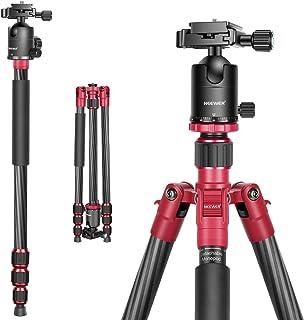 """Neewer カーボンファイバー製三脚一脚 168cm 360度雲台、1/4""""クイックシュープレート、バッグ付き DSLRカメラ/ビデオビデオカメラに対応 耐荷重15kg 赤"""