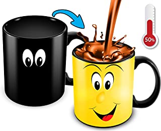 Cortunex Heat Changing Mug | 11 Oz Color Changing Coffee Mug | Funny Coffee Mug With Funny Yellow Cartoon Smiley Face | Great Christmas Gift Idea For Him Or Her Novelty Color Changing Mug