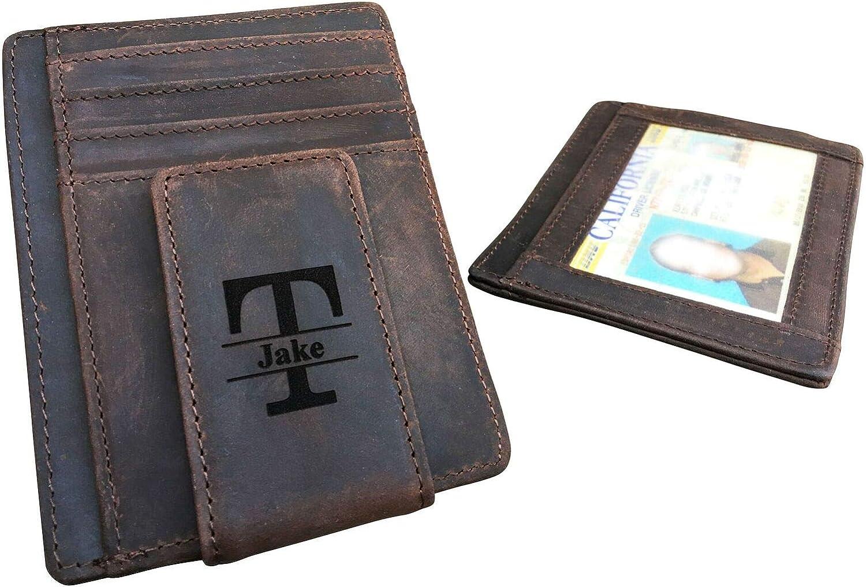 RFID Blocking Personalized Leather Magnetic Money Clip for Men, Monogrammed Rustic ID Card Wallet, Custom Slim Minimalist Wallet, Credit Card Case Holder