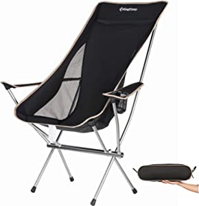 KingCamp Ultralight Compact Strong High Back Folding Chair with Armrest Cup Holder, Only 3.7 lbs