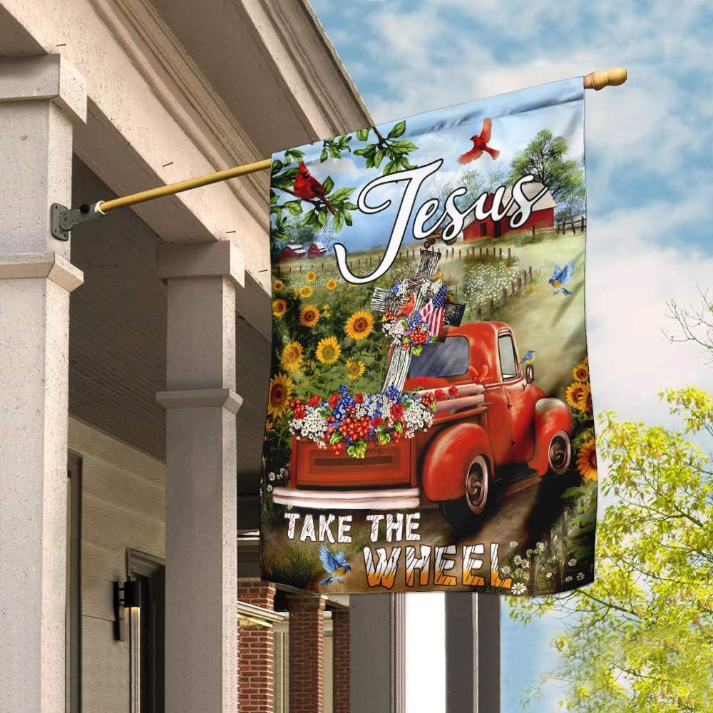 店 Flags-Jesus Take 引出物 The Wheel. Christian Truck Garden Fl Farm Cross