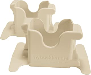 MyBuckleMate Seat Belt Buckle Holders - Keep Floppy Back Seat Buckles Securely Propped Up for Easy Buckling, Beige - (Set of 2)
