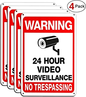 Vwarn 4-Pack Video Surveillance Sign, No Trespassing Metal Reflective Warning Sign, 10