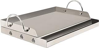BBQ-Toro Edelstahl Grillplatte | 51 x 32 cm | BBQ Plancha passend für Weber Grill | rechteckig | universal und massiv | Grillblech für Holzkohle und Gas