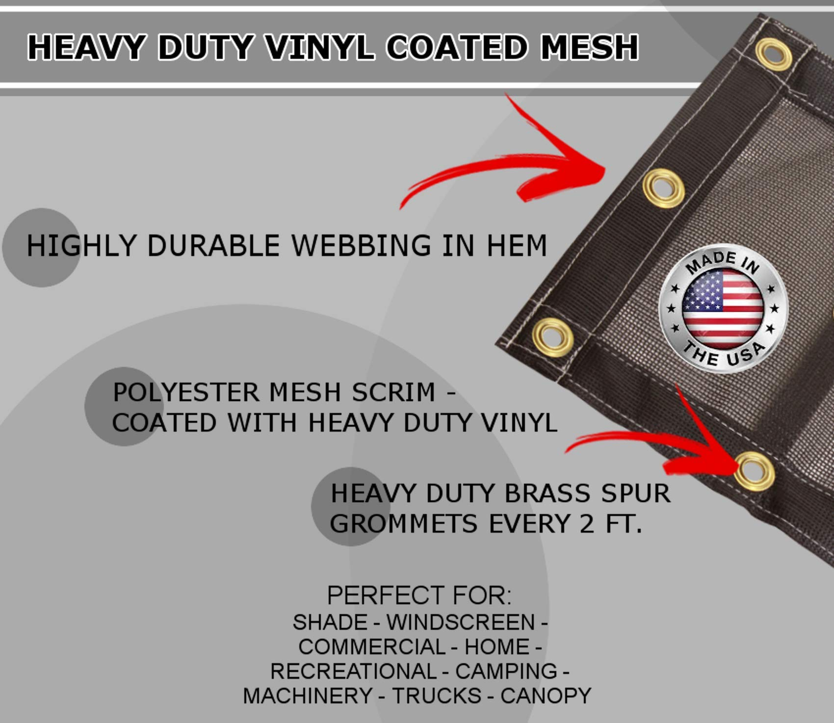 Mesh Tarp Extra Heavy Duty Nylon 12x20 65/% Shade