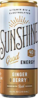Sunshine Good Energy Drink, Ginger Berry, 8.4 oz (Pack of 24), Organic Caffeine and Natural Flavors