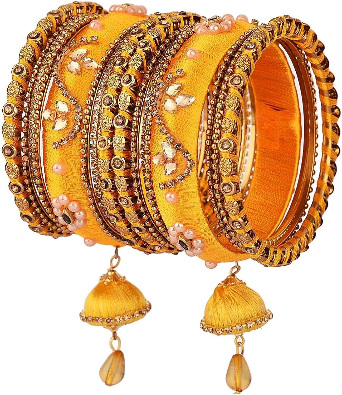 Efulgenz Indian Bangle Set CZ Crystal Kundan Silk Thread Tassel Bracelet Bangle Jewelry for Women